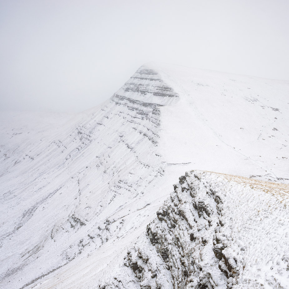 Cribyn during a snow flurry